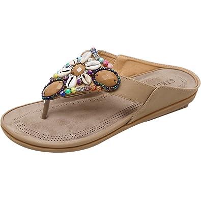 Mallimoda Damen Zehentrenner Flip Flops Sommer Bohemian Pantolette Strand Schuhe Apricot Art 1 Asian 42 MG1vt