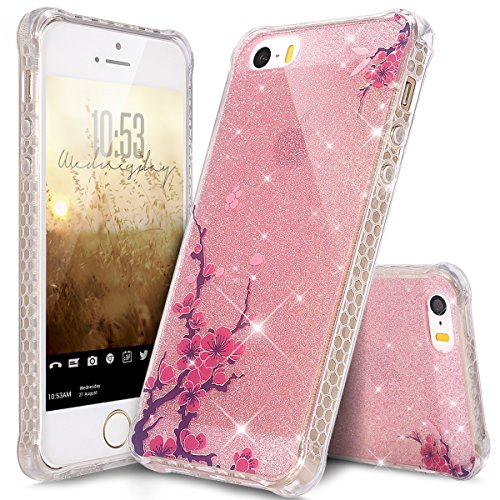 iPod Touch 6 Case,iPod Touch 5 Case,ikasus Bling Glitter Sparkle Anti-color Fading IMD Ultra Slim Thin Flexible Soft Silicone TPU Rubber Case Cover for iPod Touch 6/5 5th,Pink Plum Blossom