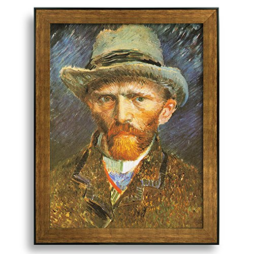 Self Portrait with Grey Felt Hat by Vincent Van Gogh Framed Art Print Famous Painting Wall Decor Bronze and Black Frame