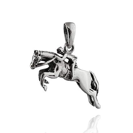 Amazon.com: Colgante de caballo saltando y rider – Plata de ...