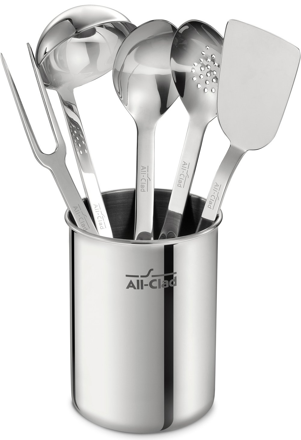 amazoncom allclad tset1 stainless steel kitchen tool set caddy included 6piece silver kitchen u0026 dining