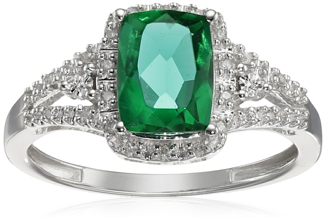 10K White Gold Simulated Emerald Cushion with Diamond Ring, Size 8
