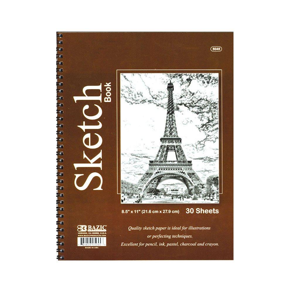 BAZIC 30-Count 8.5 x 11 Inches Side Bound Spiral Premium Sketch Book (5045)