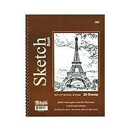 """BAZIC 30 Ct. 8.5"""" X 11"""" Side Bound Spiral Premium Sketch Book"""