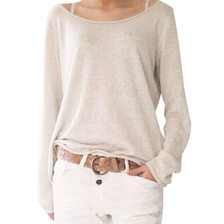 SUNNOW® Damen T-Shirt Langarm Rundhals Ausschnitt Casual Sweatshirt Oversize Frauen Oberteile Tops