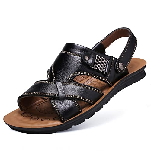 6025269cbb4 Men s Sandals Adjustable Outdoor Sports Comfortable Beach Shoes Summer Open  Toe Genuine Leather Non-slipThick