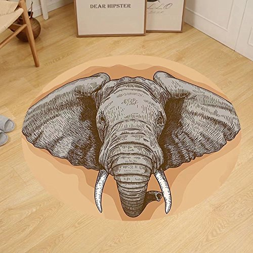 Gzhihine Custom round floor mat Elephants Decor Elephant Dressing With Thai Kingdom Tradition Pagoda In Ayuthaya Bedroom Living Room Dorm Decor by Gzhihine