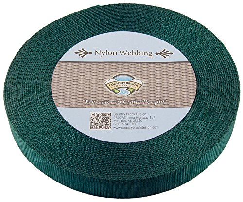 Country Brook Design | Heavy Nylon Webbing (1 inch) (Green, 10 Yards)
