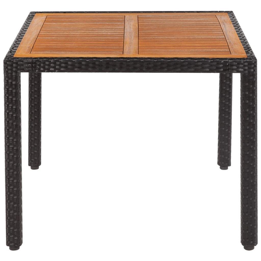VidaXL Gartentisch Poly Rattan 150x90x75 cm Tischplatte Esstisch Akazienholz Tischplatte cm 6deb06
