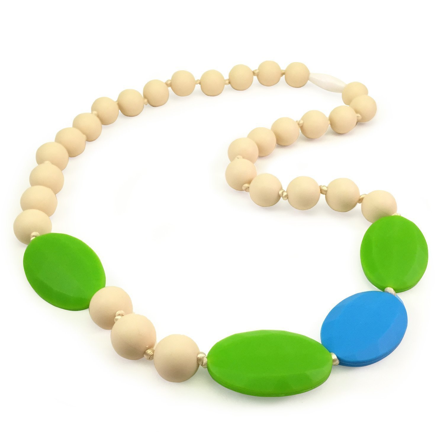 Teething Necklace for Mom to Wear - Baby Safe Silicone Teether 24 Inches Ivory by Epicura   B00SGGSHSW