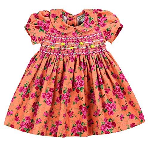 Cotton Vintage Corduroys (sissymini Margot Soft Printed Corduroy Hand Smocked Dress for Infant & Toddler (12M-4T) (4T, Vintage Blush Floral))