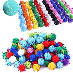 "Rimobul Standard 10 Colors Sparkle Balls My Cat's All Time Favorite Toy - 1.5"" - 100 Pack"