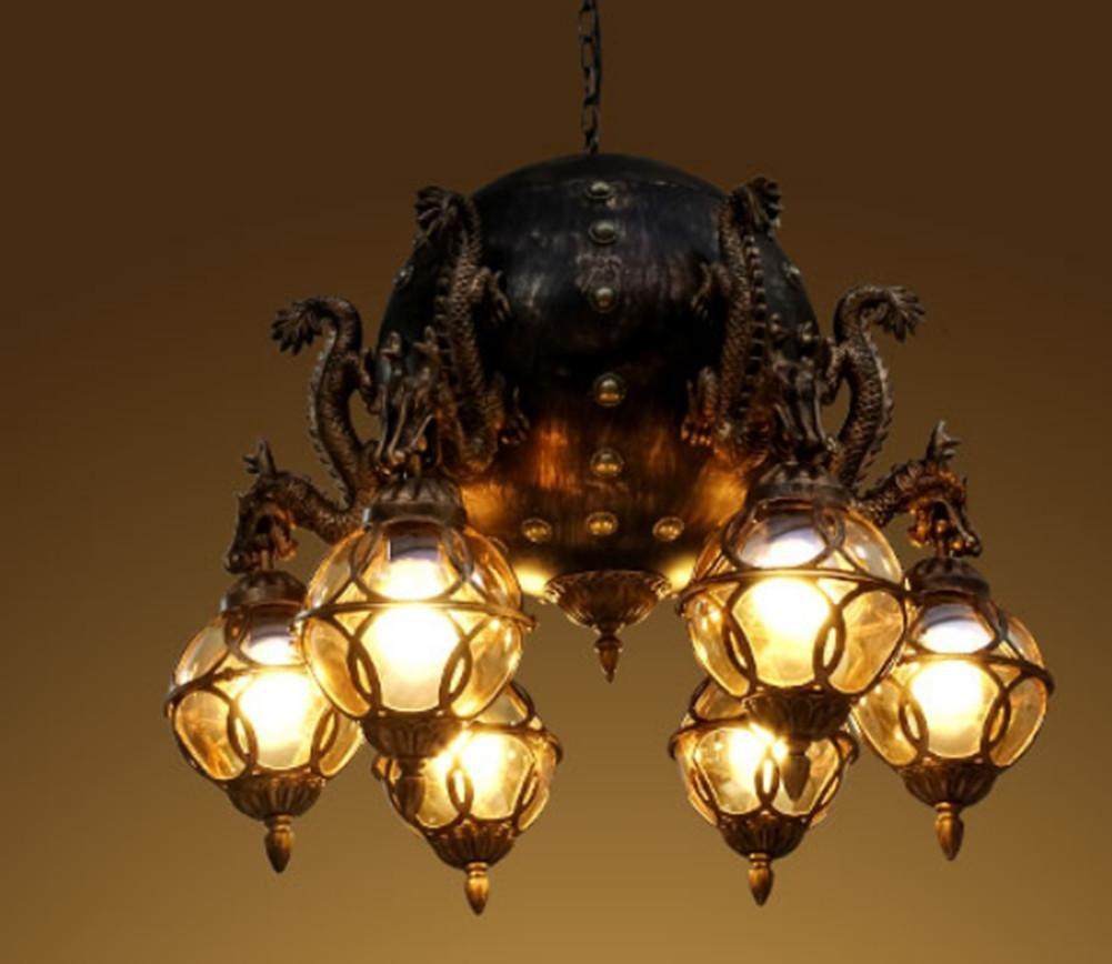 Fwef Eisen Kunst Industrie Wind Bronze Kronleuchter Globe Retro