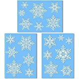 20 Large Snowflake Window Clings - Quick and Simple Christmas Decorations - Glueless PVC Stickers