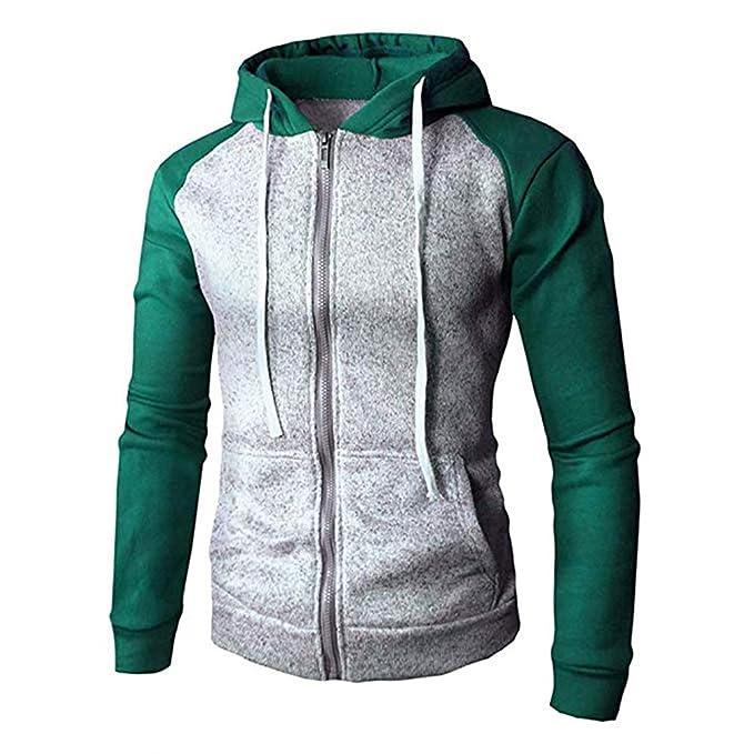 be0067919c75a Sudadera para Hombre Cosy Coat Pullover Patchwork Fashion Hooded Sportwear Hip  Hop Chándales para Chica con Cierre de Cremallera  Amazon.es  Ropa y ...