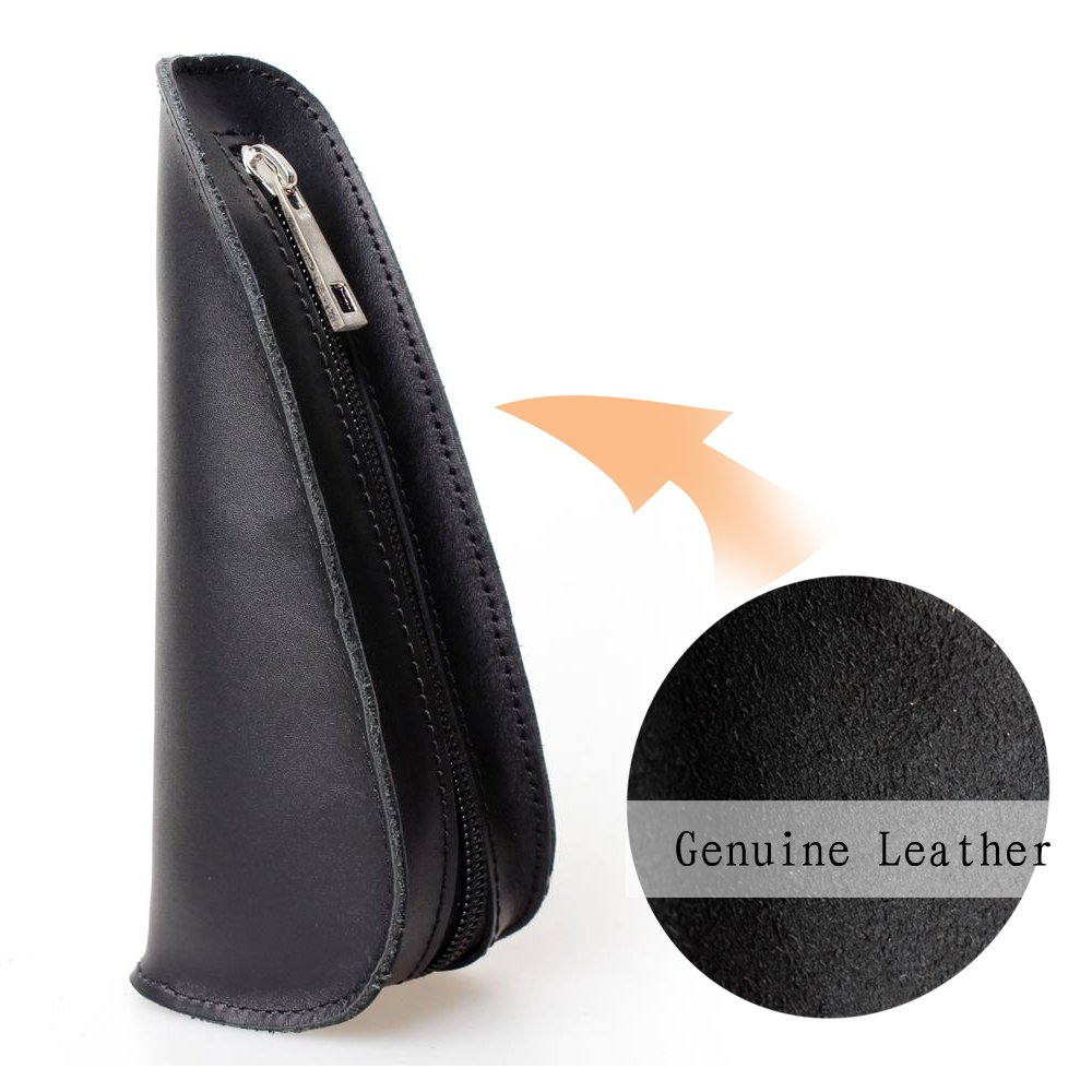 Tobacco Pipe Pouch 7'' 1PC Travel Portable Bag Single Top Leather Smoking Pipe pouch Holder CL09 (black)