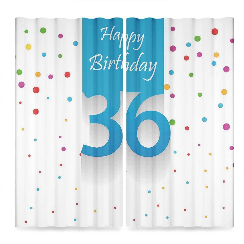 C COABALLA 36th Birthday Decorations Small Window Blackout Curtains,Happy Birthday Quote on Blue Backdrop with Colorful Polka Dots,Living Room Bedroom Décor, 2 Panel Set, 28W X 39L Inches