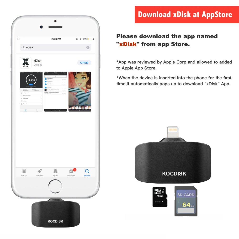 kocdisk lector de tarjetas SD, Adaptador de tarjeta SD, lector de tarjetas para iPhone/iPad/Mac/PC y juego cámara visor para TF/tarjeta SD: Amazon.es: ...
