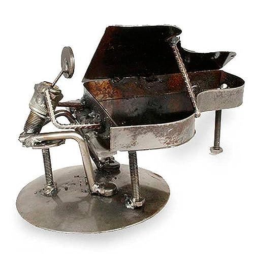 NOVICA 114226 Rustic Piano Man Iron Statuette
