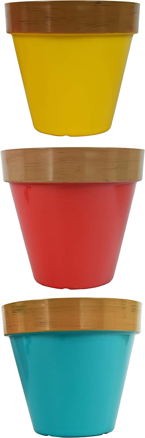 Set of 3 Planter Pots - Features 3 Bright and Beautiful Colors - Great for Classrooms or Home Projects! - 7.5