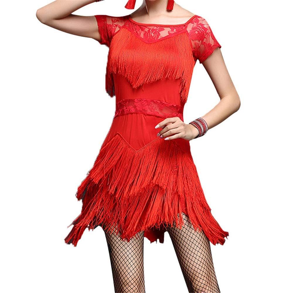 Rouge Yuqianqian Robe de Ballet Latine pour Femme Femmes Robe De Danse Latine à Manches Courtes Asymétrique Frange Glands Rumba Samba Tango Salle De Danse Perforhommecewear Compétition Danse Robe Medium