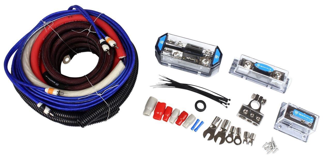 Rockville RDA0 Plus 4K 0 Plus 4 Gauge Dual Amplifier Installation Multiple-Amp Wire Kit