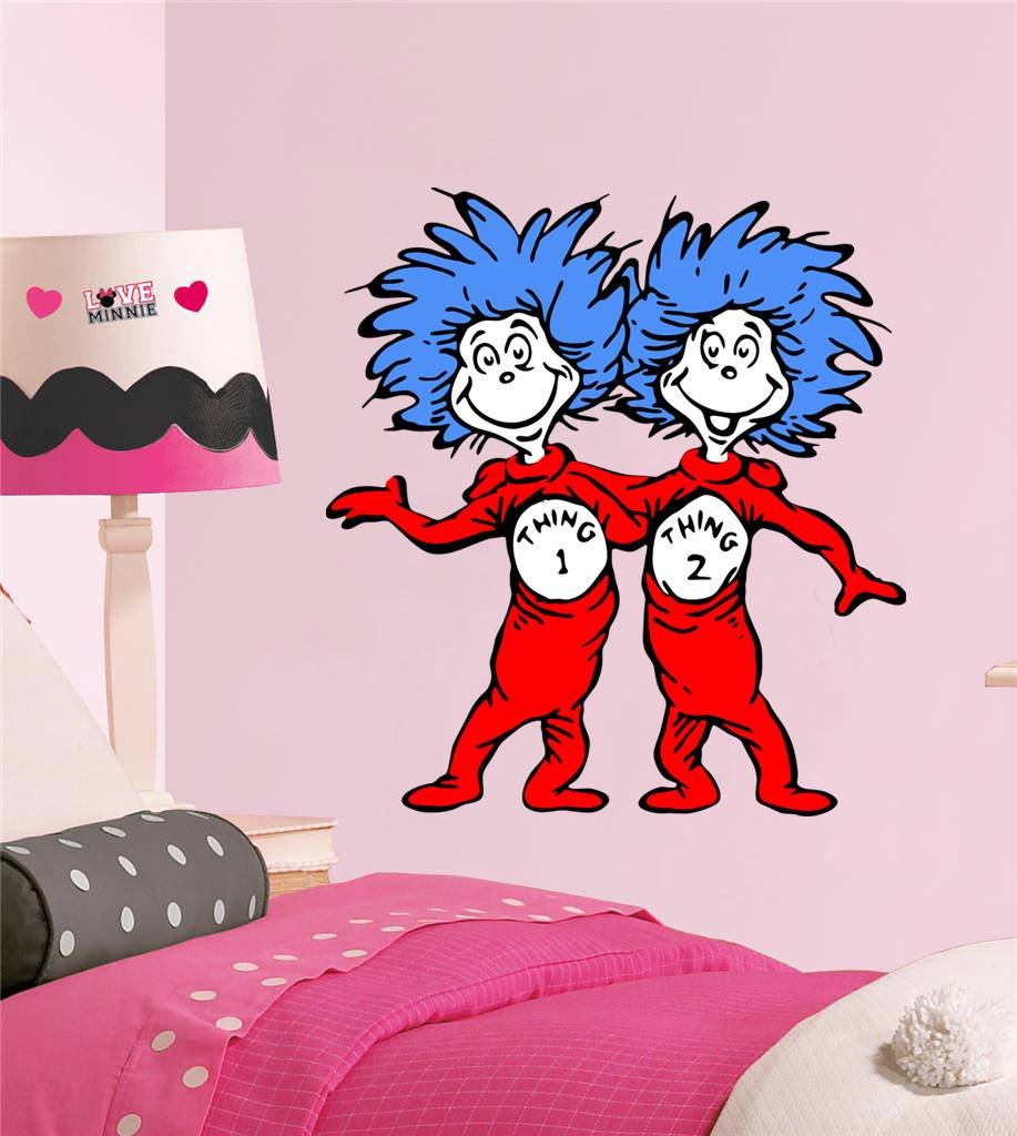 amazon com dr seuss thing 1 thing 2 decal wall sticker home amazon com dr seuss thing 1 thing 2 decal wall sticker home decor art kids c261 large home kitchen