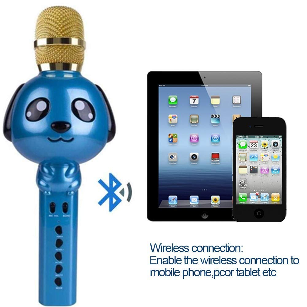 Wireless Karaoke Microphone for Kids Bluetooth Mic Portable Handheld Karaoke Machine for Kids Singing KTV Parties Boys Girls Parties Christmas or Birthday Gifts Toys iPhone Android PC (Blue) by Rhllxzo (Image #3)