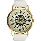 Montre Bracelet Plume De Paon Cuir Quartz Femme Wrist Watch Bijoux Retro Vintage