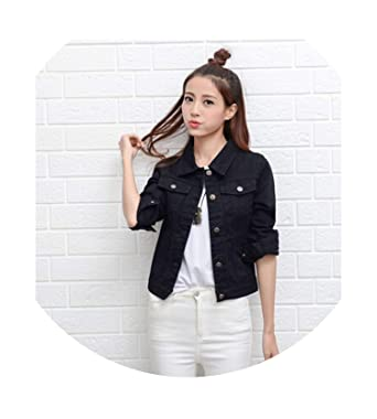 best loved classic style classic styles Fashion Jeans Jacket Women Hand Brush Long Sleeve Stretch ...