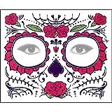 Yliquor Halloween 2PCS Dia de Los Muertos Face Mask Sugar Skull Tattoo Beauty Funny Mask (D)