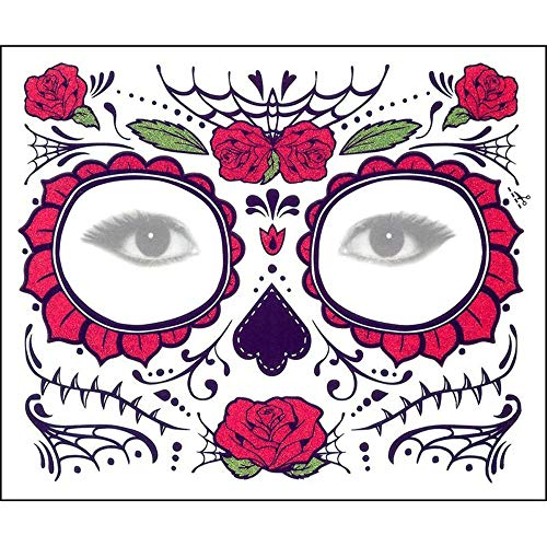 Inverlee 2PCS Facial Skull Temporary Tattoos Day of The Dead Sugar Skull Stickers Halloween Party Terror Scar Makeup Tattoo Stickers (D) -