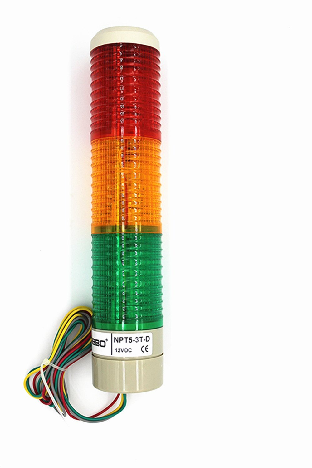 Nxtop Industrial Signal Light Column LED Alarm Round Tower Light Indicator Warning Light r Red Green Yellow DC 12V Steady On