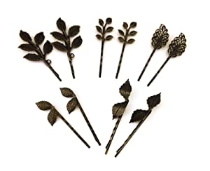 yueton 10pcs Vintage Bronze Mix Style Athena Olive Branch Leaf Hair Clip Leaves Barrettes Bobby Pin Bride Headwear Edge Clip Clamps