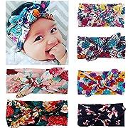 Zando Baby Girls Toddler Kids Cute Turban Headband Head Bows Soft Sweet Hairband Retro Flower1/6 Pack