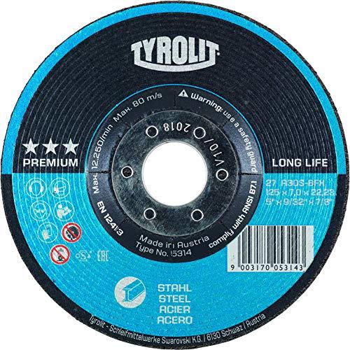 Tyrolit 5314 Schruppscheibe, Premium, Durchmesser 125 mm, Stärke 7 mm, Stahl (10-er Pack)