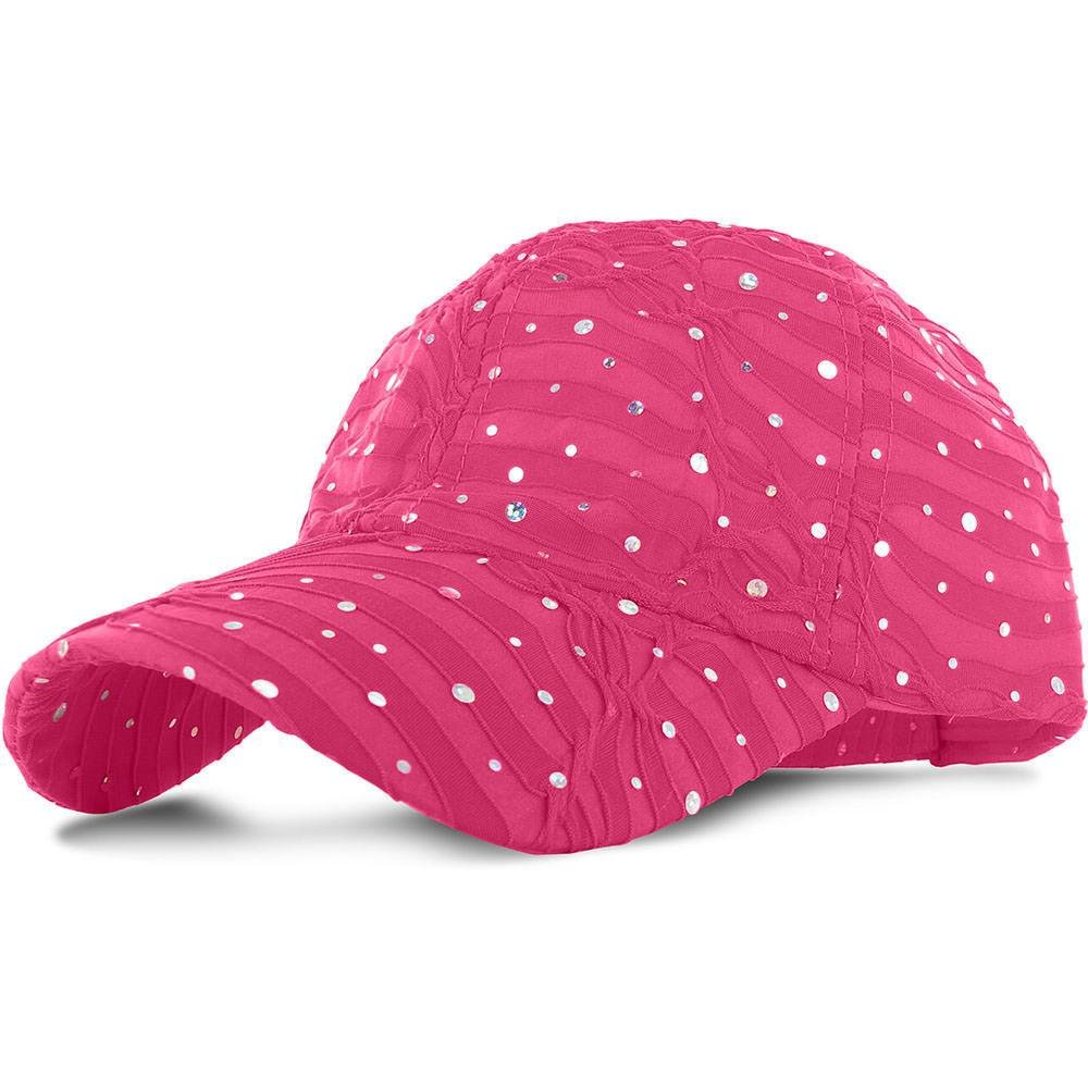 Hot Pink_100% Polyester Glitter Baseball Cap Golf Hat Rhinestone (US Seller)