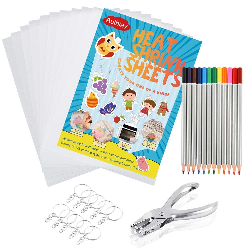 Auihiay 33 PCS Shrink Plastic Sheet Kit Include 10 PCS Shrinky Paper, Hole Punch, Keychains, Pencils for Kids Creative Craft
