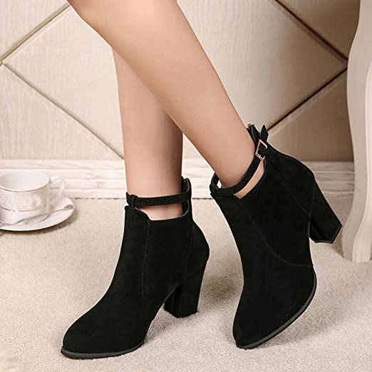 Amazon.com: Hemlock High Heels Ankle Boots, Women Ladies Booties Dress Boots Women Shoes Wedge Shoes (US:7.5, Black): Car Electronics