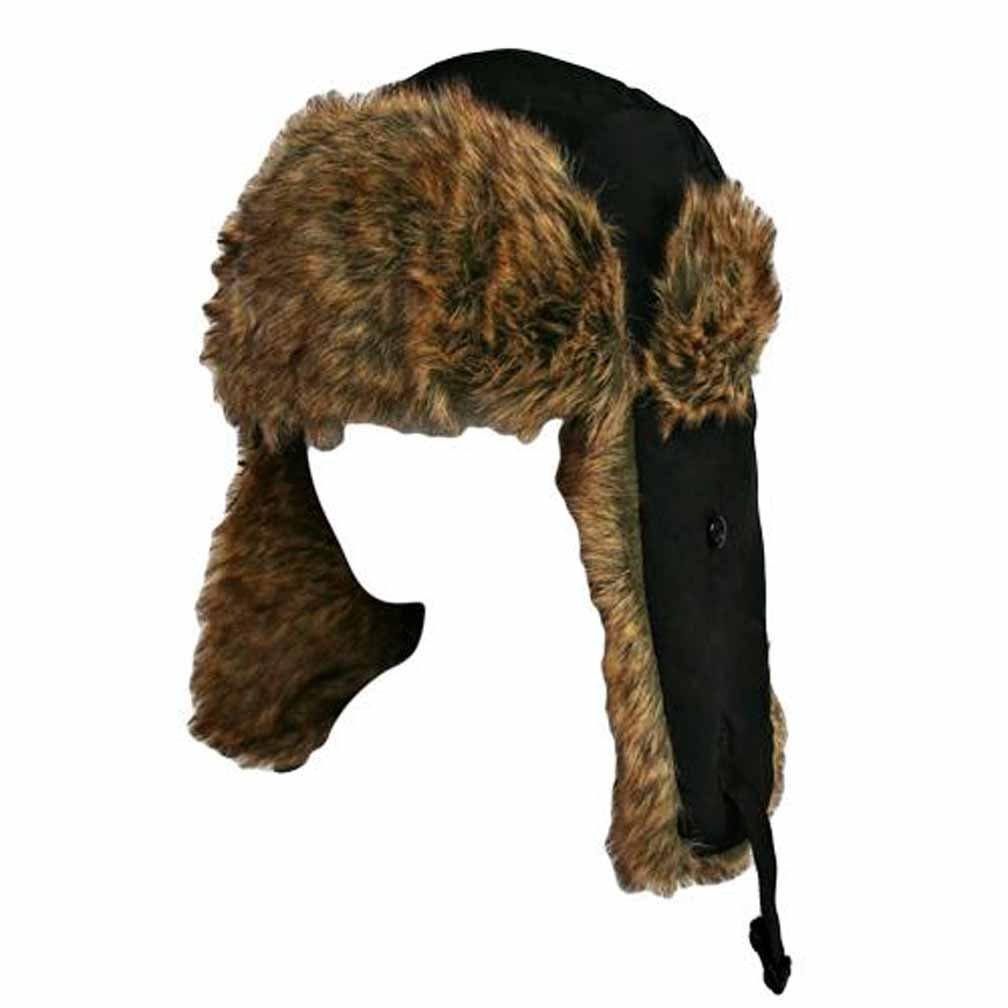 Black W/Brown Faux Fur Trooper Hat