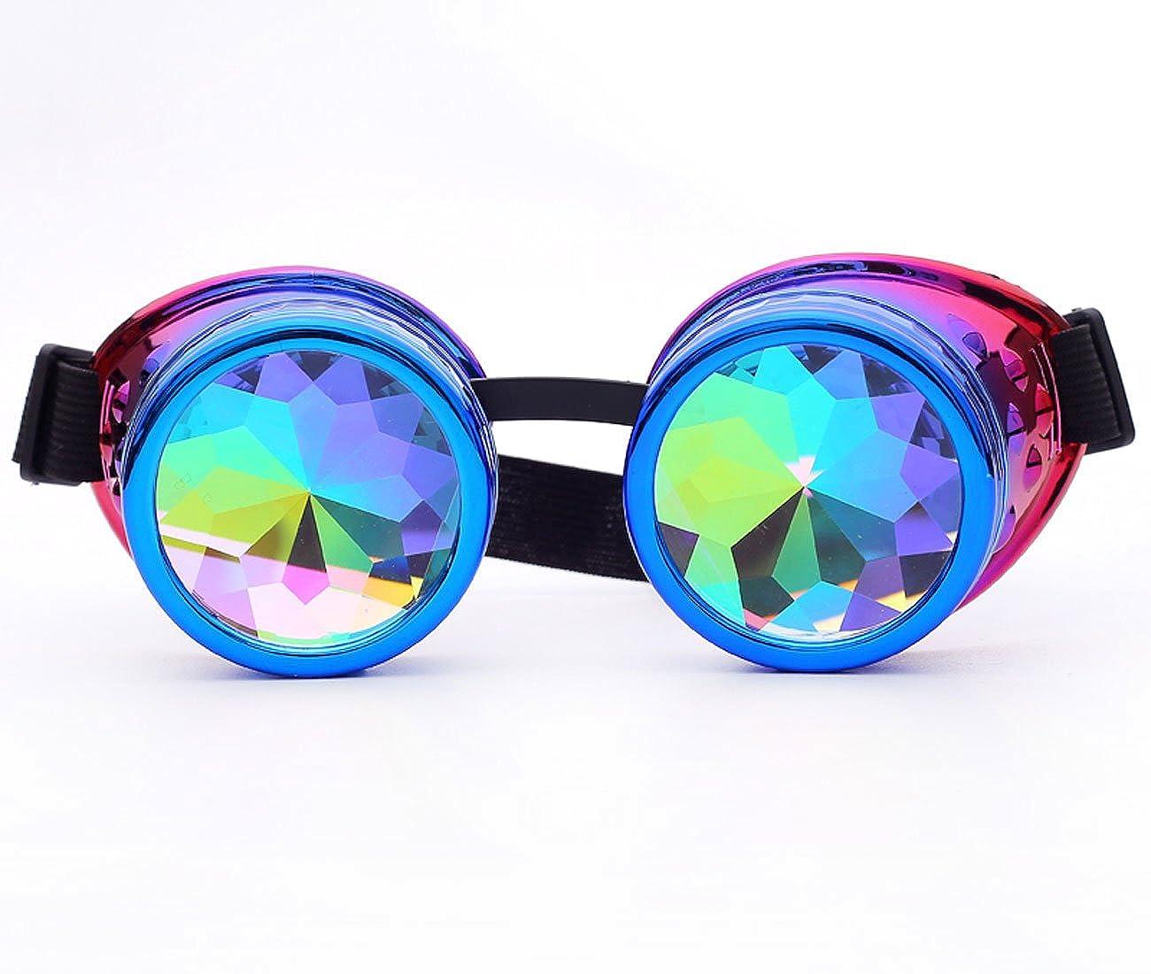 ZAIQUN Goggles Kaleidoscope Steampunk Rave Glasses with Crystal Glass Lens ZQ@MG005-V-CN-WLJ01