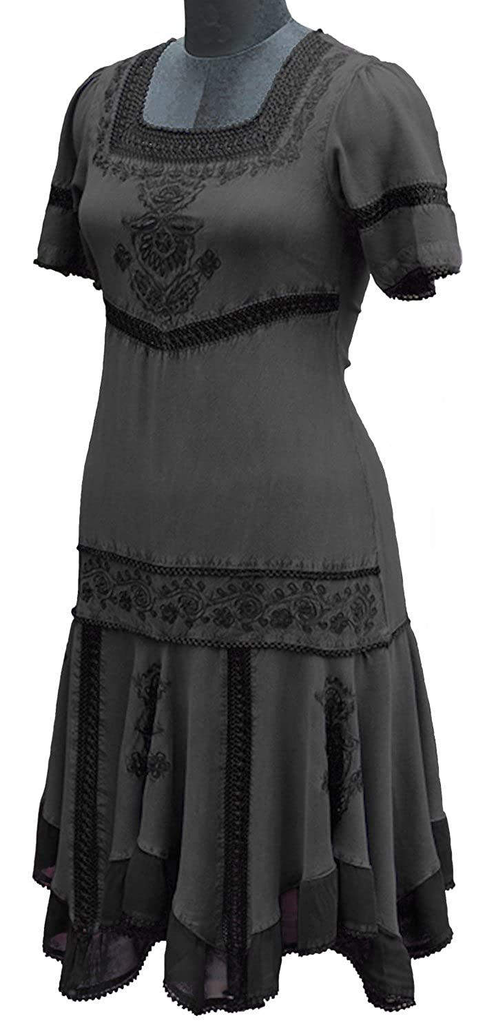 Steampunk Plus Size Clothing HolyClothing Callie Georgette & Lace Tiered Romance Dress $44.99 AT vintagedancer.com