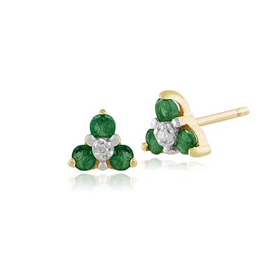 Gemondo Emerald Earrings, 9ct Yellow Gold 0.33ct Emerald & Diamond Classic Cluster Stud Earrings