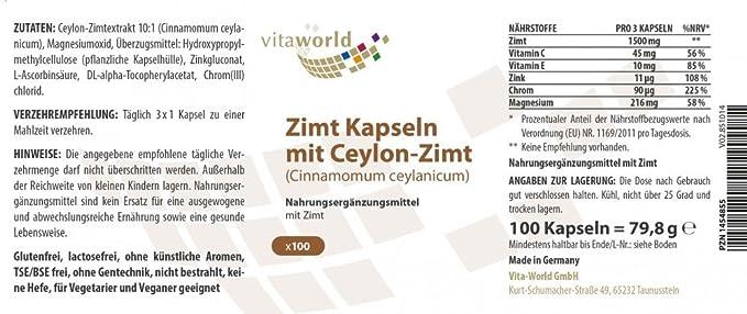 Pack de 3 Canela 500mg 3 x 100 Cápsulas Vita World Producción en farmacia en Alemania: Amazon.es: Salud y cuidado personal