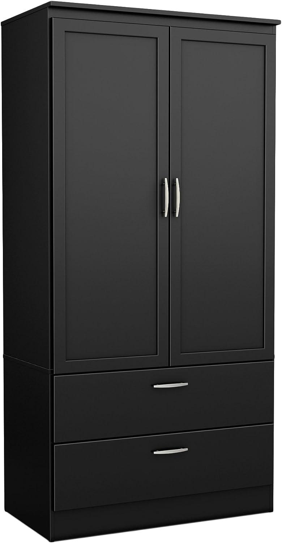 2 Door Wardrobe Wood Closet Cabinet Armoire Adjustable Shelves Hanging Rod New