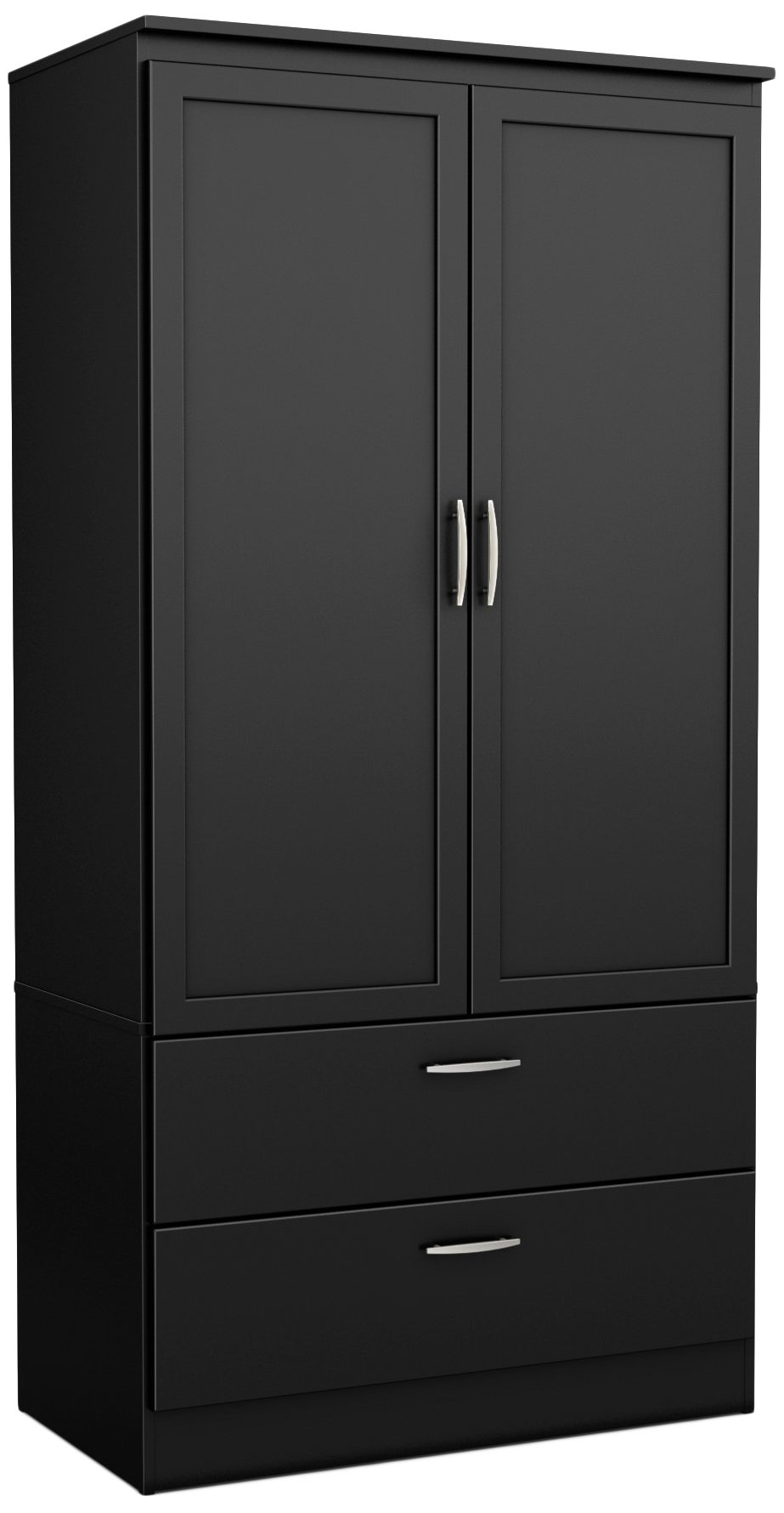 South Shore 5370038 2-Door Wardrobe Armoire with Adjustable Shelves and Storage Drawers, Pure Black