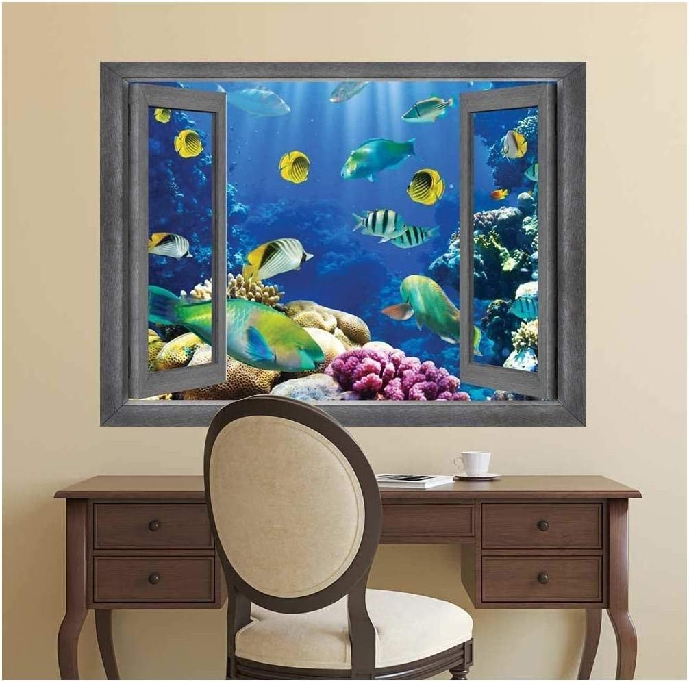wall26 - Open Window Creative Wall Decor - Underwater World - Wall Mural, Removable Sticker, Home Decor - 24x32 inches