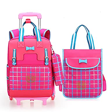feb0e1b592 Meetbelify Rolling Backpacks for Girls School Bags with wheels Wheeled  Backpack with Pencil Case  Lunch Bag