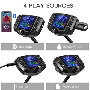 Nulaxy KM29 Bluetooth FM Transmitter 1.8 Color Screen Car Bluetooth Adapter with Car Battery Reading, Handsfree Calling, Support USB, EQ Mode, Black (Color: Black)