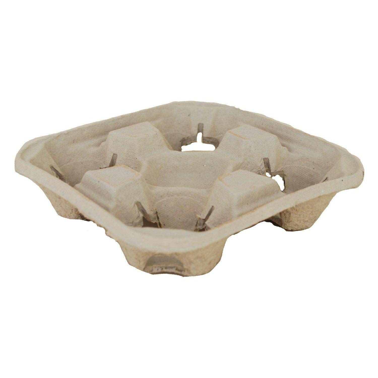 180x Disposable 4 Cup Carry Trays Recycled Paper Pulp Drink Holder Carrier